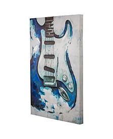 American Art Decor Blue Guitar Embellished Wrapped Canvas Art Print