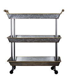 American Art Decor 3-Shelf Galvanized Rolling Cart