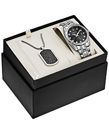 Men's Stainless Steel Bracelet Watch & Pendant Necklace 42mm Gift Set