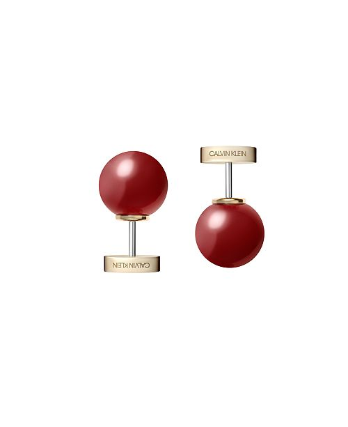 Calvin Klein Bubbly Stainless Steel and PVD Champagne Gold Red Coral Stone Stud Earrings