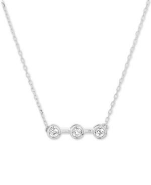 "Diamond Accent Triple Bezel 16"" Pendant Necklace in Sterling Silver"