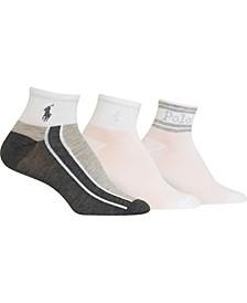 Women's 3-Pk. Colorblocked Ankle Quarter Socks