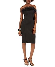 Feather-Trim Sheath Dress