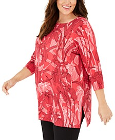 Plus Size Floral-Print Tunic, Created for Macy's