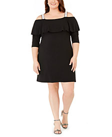 Belldini Plus Size Rhinestone-Strap Ruffled A-Line Dress