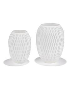 White Honeycomb Vases - Set of 2