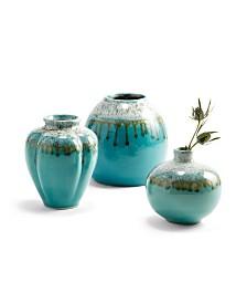 Aqua Patina Vases - Set of 3