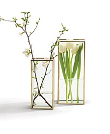 Windows Square Vases with Gold Metal Trim - Set of 2