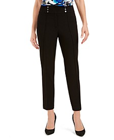 Petite Button-Detail Dress Pants