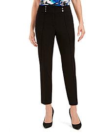Kasper Button-Detail Dress Pants