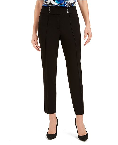 Kasper Button-Detail Dress Pants