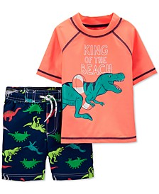 Toddler Boys 2-Pc. Dinosaur Rash Guard & Swim Trunks Set