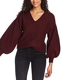 V-Neck Bubble-Sleeve Sweater