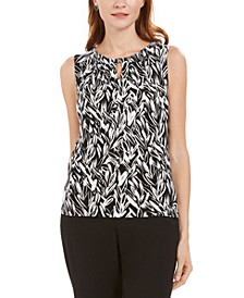 Petite Pleated-Neck Keyhole Top