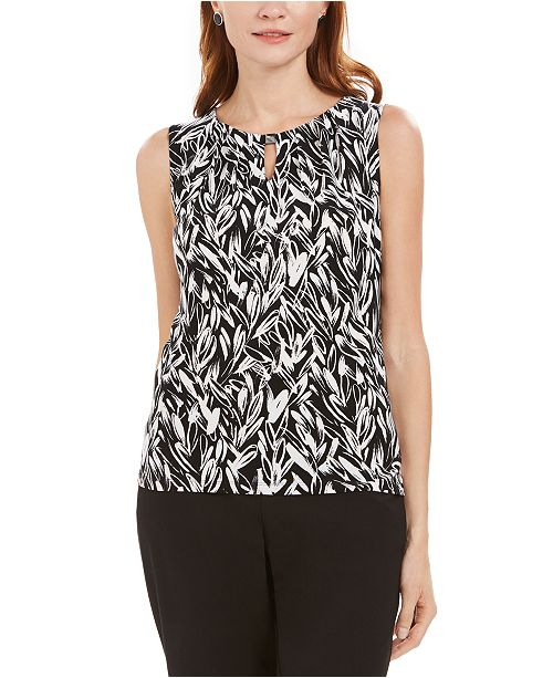 Kasper Petite Pleated-Neck Keyhole Top