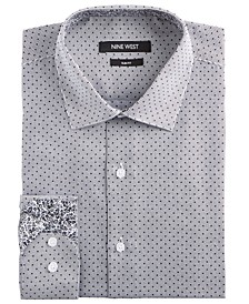Men's Slim-Fit Wrinkle-Free Performance Stretch Black Stripes & Dots Print Dress Shirt