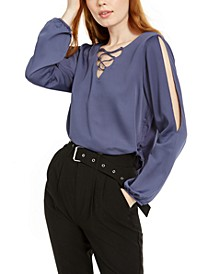 Juniors' Lace-Up Split-Sleeve Top