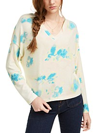 Juniors' Cozy Tie-Dyed V-Neck Top