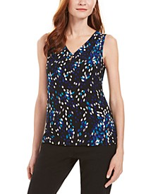 Printed V-Neck Sleeveless Blouse