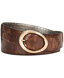 Snake-Embossed Belt with Oval Buckle
