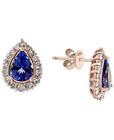 EFFY® Tanzanite (1-1/6 ct. t.w.) & Diamond (3/8 ct. t.w.) Teardrop Halo Stud Earrings in 14k Rose Gold