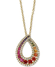 "EFFY® Multi-Sapphire (1-1/3 ct. t.w.) & Diamond (3/8 ct. t.w.) 18"" Pendant Necklace in 14k Gold"