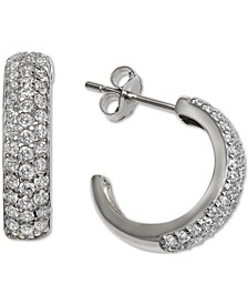 """Cubic Zirconia Small Hoop Earring in Sterling Silver,  0.66"""", Created For Macy's"""
