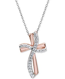 "Cubic Zirconia Cross Pendant Necklace in Sterling Silver & 18k Rose Gold-Plate, 16"" + 2"" extender, Created For Macy's"