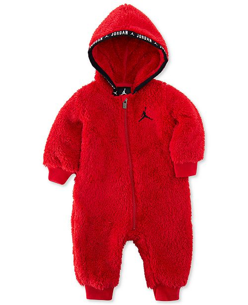 Baby Boys Faux Sherpa Hooded Coverall
