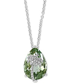 "EFFY® Green Amethyst (5-5/8 ct. t.w.) & Diamond (1/20 ct. t.w.) Palm Tree 18"" Pendant Necklace in 14k White Gold"