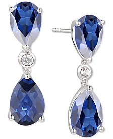 Sapphire (4 ct. t.w.) & Diamond (1/10 ct. t.w.) Drop Earrings in 14k White Gold (Also in Emerald, Tanzanite & Certified Ruby)