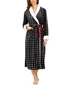 Check-Print Long French Fleece Robe