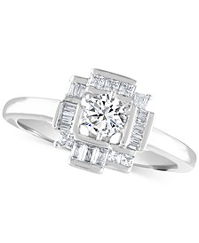 Diamond Baguette Halo Engagement Ring (5/8 ct. t.w.) in 14k White Gold
