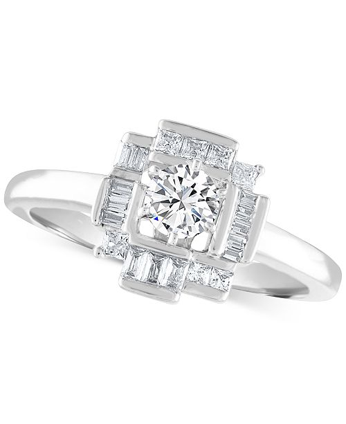 Macy's Diamond Baguette Halo Engagement Ring (5/8 ct. t.w.) in 14k White Gold