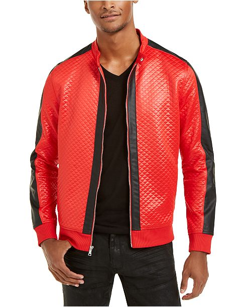 INC International Concepts INC Men's Diamond Quilted Faux-Leather Jacket, Created For Macy's