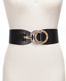 I.N.C. Double-Ring Rhinestone Interlock Stretch Belt, Created for Macy's