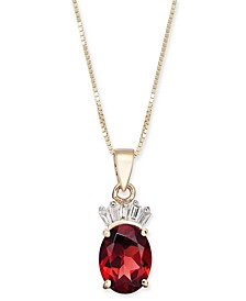 "Garnet (1-1/2 ct. t.w.) & Diamond Accent 18"" Pendant Necklace in 14k Gold"