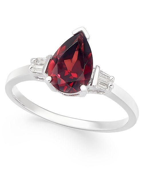 Macy's Rhodolite Garnet (1-5/8 ct. t.w.) & Diamond (1/20 ct. t.w.) Ring in 14k White Gold