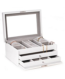 Lacquer Large Jewelry Chest with Multi-Compartment Storage