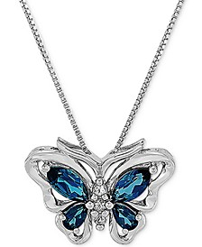 """Blue Topaz Butterfly 18"""" Pendant Necklace (2 ct. t.w.) in Sterling Silver"""
