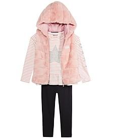 Toddler Girls 3-Pc. Faux-Fur Vest, Star T-Shirt & Leggings Set