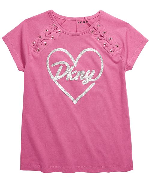 DKNY Big Girls Lace-Up Logo T-Shirt