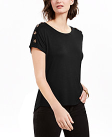 NY Collection Petite Button-Sleeve Top