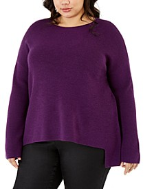 Plus Size Crewneck High-Low Top