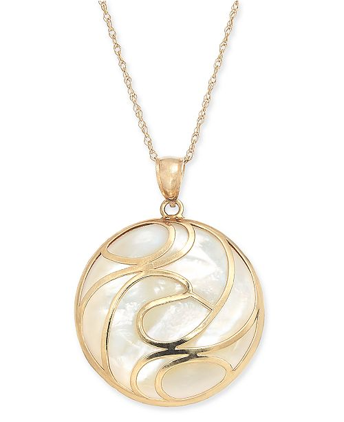"""Macy's Mother-of-Pearl Swirl Disc 18"""" Pendant Necklace in 14k Gold"""