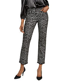 Foil Animal-Print Cropped Jeans