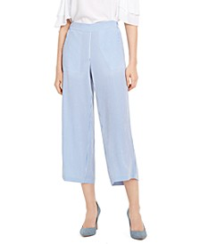 Micheal Linen Cropped Pants, Regular & Petite
