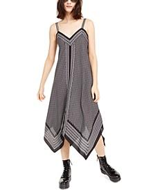 Border-Print Handkerchief Hem Sleeveless Dress, Regular & Petite Sizes