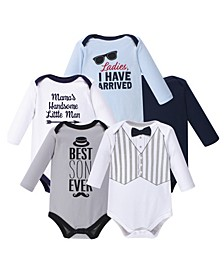 Baby Boy Long Sleeve Bodysuit, 5-Pack