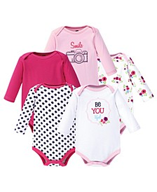 Baby Girl Long Sleeve Bodysuit, 5-Pack